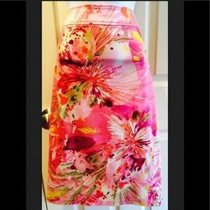 SUNNY LEIGH Floral Pleated Pink Skirt EUC Size 14